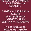 Segunda pizza 50% y 5 Unidades 2 €